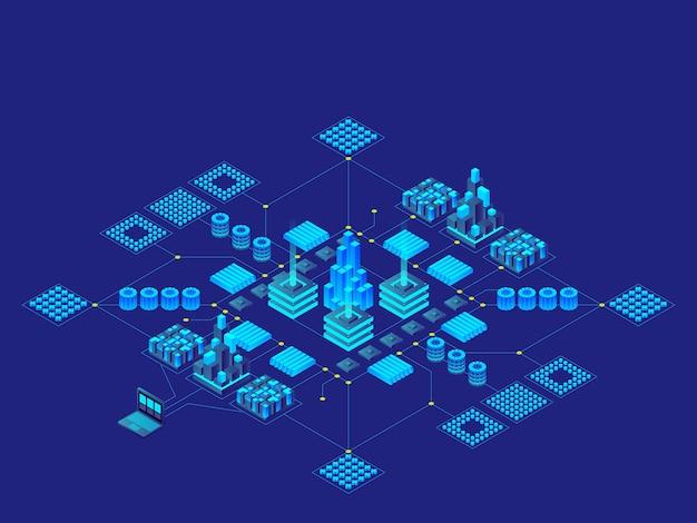 Koncepcja technologii cyfrowej hi-tech. futurystyczna płytka drukowana. elektroniczna płyta główna. koncepcja komunikacji i inżynierii. ilustracja izometryczna