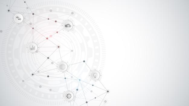 Koncepcja technologii cyfrowej i komunikacji z płaskimi ikonami