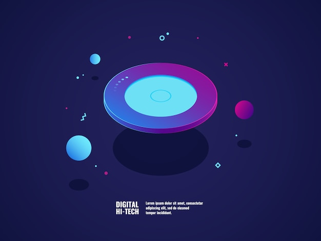Koncepcja technologii cyfrowej, nowoczesny sztandar ultrafioletowe, latający talerz obiektu