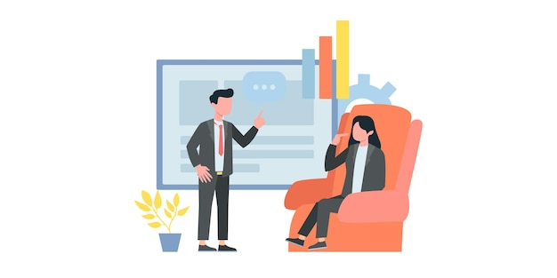 Koncepcja technologii cyfrowej, praca z grafiką biznesową, rozwój kariery do sukcesu. młody człowiek siedzi z laptopem i przepisuje na czacie. płaskie ilustracji wektorowych