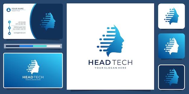 Koncepcja technologii cyfrowej z inspiracją do projektowania twarzy pół głowy i szablonem wizytówek.