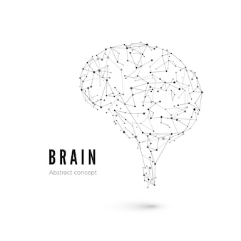 Koncepcja technologii, cząsteczki i linie. wieloboczny kształt mózgu sztucznej inteligencji z liniami i kropkami. ilustracja