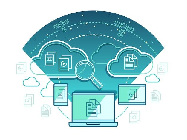 Koncepcja technologii informacyjnej. sieć komunikacyjna, połączenie komputerowe z danymi w chmurze.