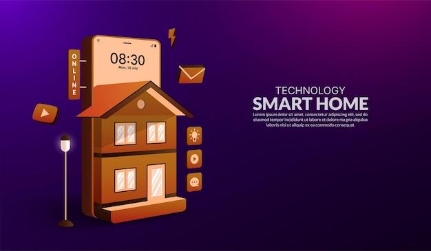 Koncepcja technologii inteligentnego domu sterowanie urządzeniem elektronicznym systemu automatyki domowej za pomocą smartfona
