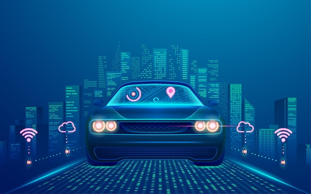 Koncepcja technologii inteligentnego samochodu lub pojazdów autonomicznych, grafika samochodu bez kierowcy z inteligentnym miastem jako tłem