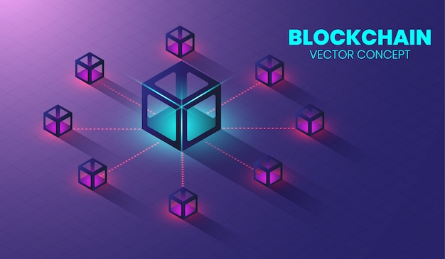 Koncepcja technologii izometrycznego blockchain.