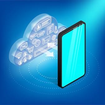 Koncepcja technologii izometrycznej chmury. świecąca chmura z ikonami w środku komunikuje się ze smatrphone. baner wymiany danych do projektowania stron internetowych, marketingu i projektowania graficznego. ilustracja