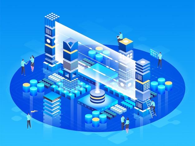 Koncepcja technologii izometrycznej. zarządzanie siecią baz danych. przetwarzanie big data, stacja energetyczna przyszłości. it technician turning server. usługa chmury. informacje cyfrowe. ilustracja
