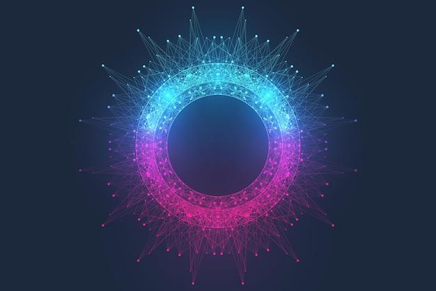 Koncepcja technologii komputera kwantowego. tło wybuchu kuli. głębokie uczenie sztucznej inteligencji. wizualizacja algorytmów big data. fale płyną. wybuch kwantowy, ilustracji wektorowych.