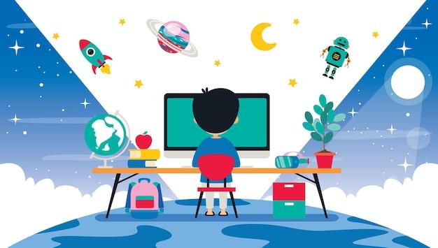 Koncepcja Technologii Komputerowej Dla Edukacji I Biznesu Premium Wektorów