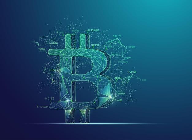 Koncepcja technologii kryptowalut, grafika low poly bitcoin z elementem finansowym