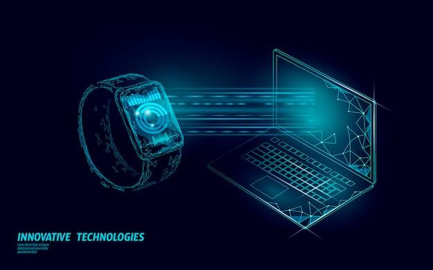 Koncepcja technologii laptopa połączenia inteligentnych zegarków. aplikacja do śledzenia wielokątów low poly. wykres mediów połączenia sieciowego urządzenia opieki zdrowotnej.
