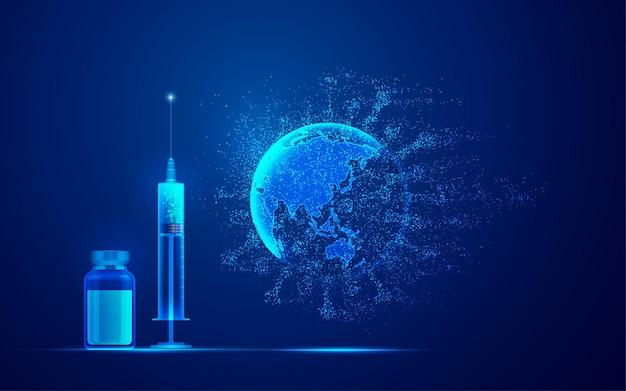 Koncepcja technologii medycznej szczepień covid-19, grafika strzykawki, butelki szczepionki i kropkowanego wirusa w połączeniu z kulą ziemską