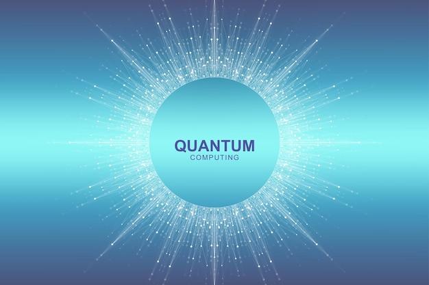 Koncepcja technologii okrągłego komputera kwantowego. tło wybuchu kuli. głębokie uczenie sztucznej inteligencji. wizualizacja algorytmów big data. fale płyną. wybuch kwantowy, ilustracji wektorowych.