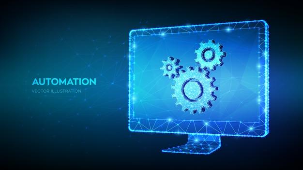 Koncepcja technologii oprogramowania automatyzacji. streszczenie 3d niski wielokątne monitor komputerowy z ikoną kół zębatych.