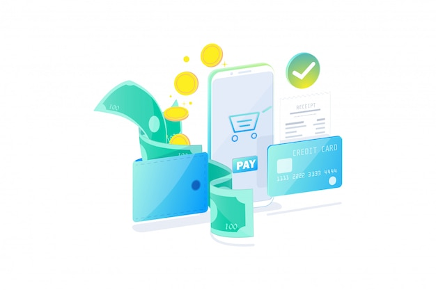 Koncepcja technologii płatności online, społeczeństwo bezgotówkowe, płatność za bezpieczeństwo. rachunki, monety i karta kredytowa płacą online z smartphone płaska konstrukcja, ilustracja.