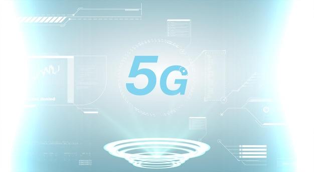 Koncepcja technologii połączeń internetowych 5g. szablon projektu 5g neon, baner świetlny, szyld neonowy. projekt wyświetlacza technologii przyszłości. znak prędkości połączenia internetowego 5g nad futurystycznym