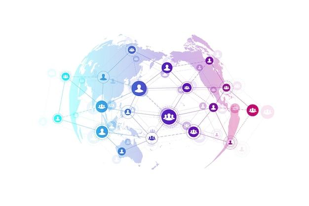 Koncepcja technologii połączeń streszczenie ludzie.