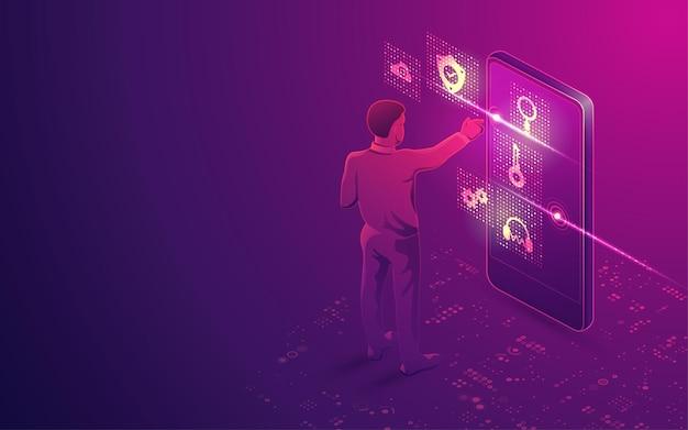 Koncepcja technologii rzeczywistości rozszerzonej lub aplikacji mobilnej, grafika przedstawiająca człowieka za pomocą futurystycznego interfejsu