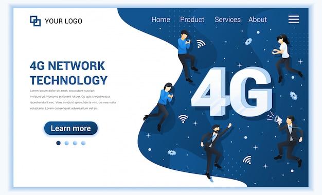 Koncepcja technologii sieci 4g. usługi telekomunikacyjne systemów internetowych. osoby korzystające z szybkiego połączenia bezprzewodowego 4g.