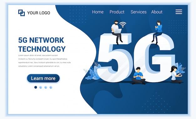 Koncepcja technologii sieci 5g. nowe systemy internetowe usługi telekomunikacyjne z osobami korzystającymi z szybkiego połączenia bezprzewodowego 5g.