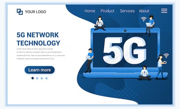 Koncepcja technologii sieci 5g. nowe usługi telekomunikacyjne systemów internetowych. osoby używające szybkiego połączenia bezprzewodowego 5g za pośrednictwem laptopa i smartfona.