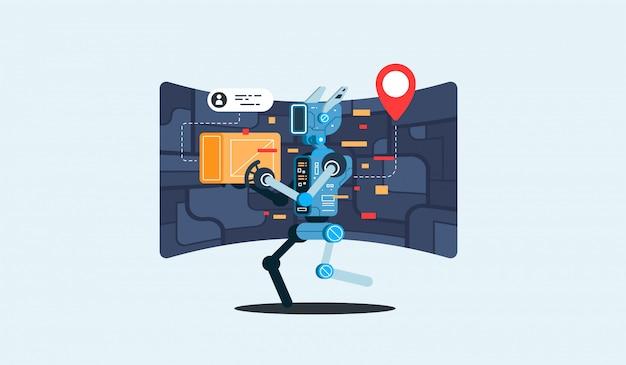 Koncepcja technologii sztucznej inteligencji nowoczesnego robota kurierskiego