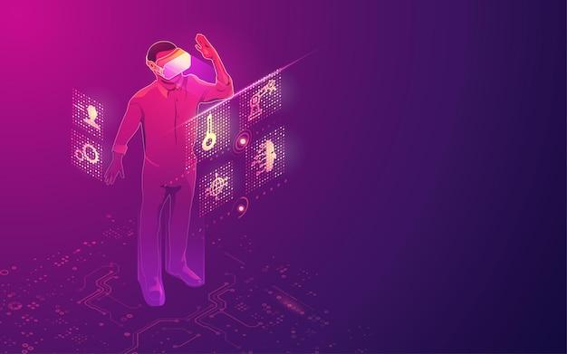 Koncepcja technologii vr, zestaw słuchawkowy wirtualnej rzeczywistości z interfejsem cyfrowego hologramu