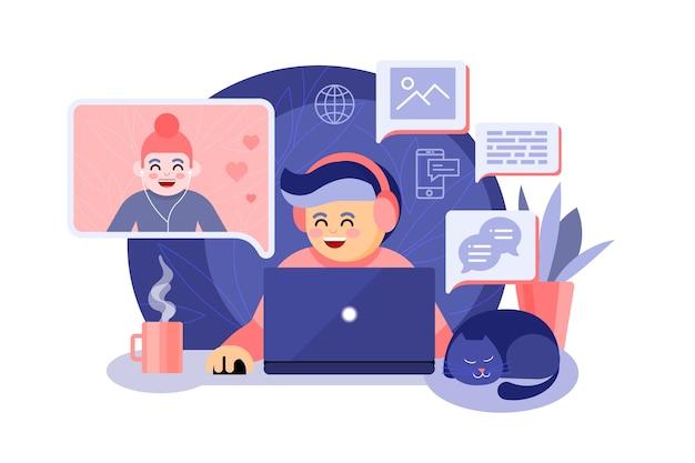 Koncepcja telepracy z ludźmi rozmawiającymi o aplikacji do połączeń wideo