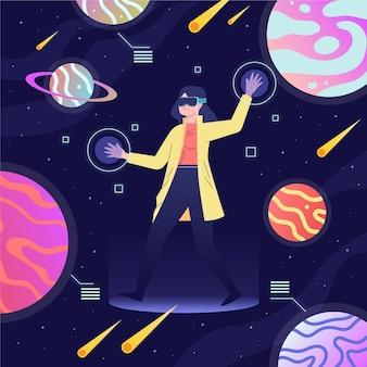 Koncepcja tempa zestawu słuchawkowego wirtualnej rzeczywistości