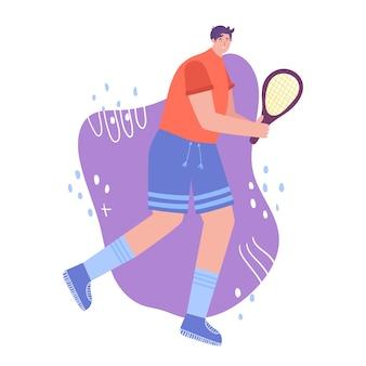 Koncepcja tenisa. mężczyzna w sportowym mundurze z rakietą.