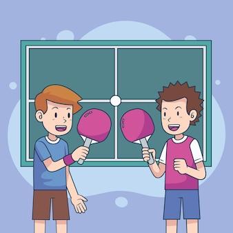Koncepcja tenisa stołowego z dwoma graczami