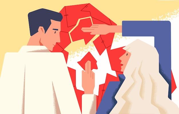 Koncepcja terapii para płaska ilustracja