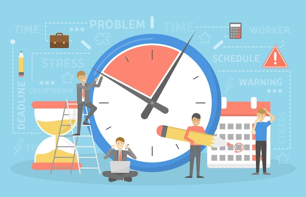 Koncepcja terminu. pomysł na wiele pracy i mało czasu. pracownik w pośpiechu. panika i stres. ilustracja wektorowa płaski