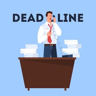Koncepcja terminu. pomysł na wiele pracy i mało czasu. pracownik w pośpiechu. panika i stres. problemy biznesowe. ilustracja w stylu kreskówki