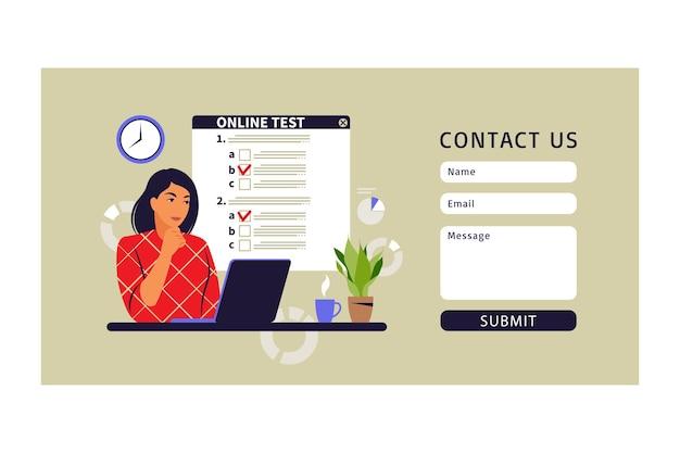Koncepcja testowania online, e-learning, egzamin na komputerze. formularz kontaktowy. ilustracja wektorowa. mieszkanie
