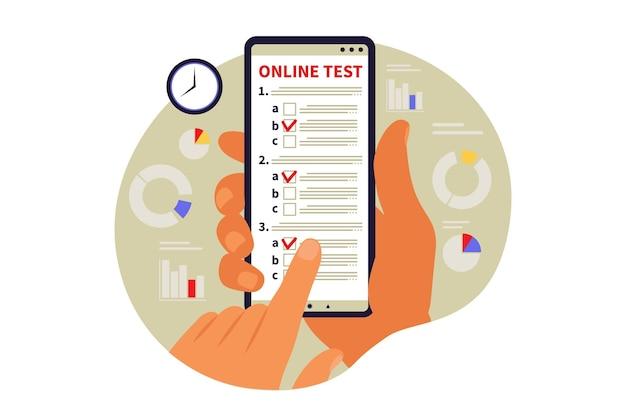Koncepcja testowania online, e-learning, egzamin na telefon. ilustracja wektorowa. mieszkanie
