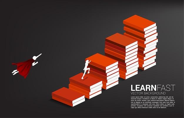 Koncepcja tła dla potęgi wiedzy. sylwetka biznesmen bieganie i latanie na stosie książek.