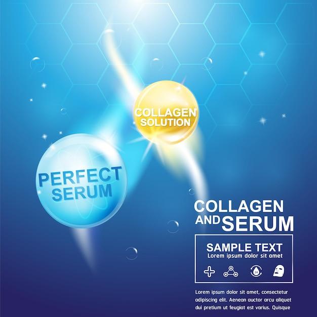 Koncepcja tła kolagenu lub surowicy produkty kosmetyczne do pielęgnacji skóry.