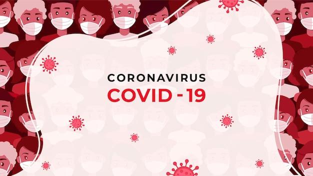 Koncepcja tła wirusa pandemicznego covid-19 z tłumem ludzi