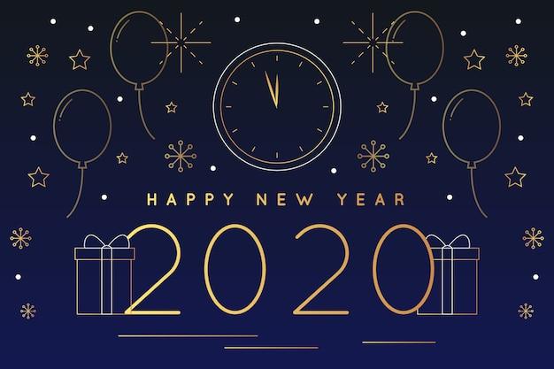 Koncepcja tło nowego roku 2020 w stylu konspektu