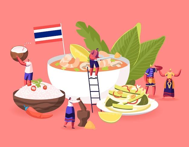 Koncepcja tradycyjnej kuchni tajskiej. płaskie ilustracja kreskówka