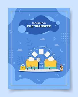 Koncepcja transferu plików technologii ludzie wokół folderu archiwum danych wysyłanych do szablonu