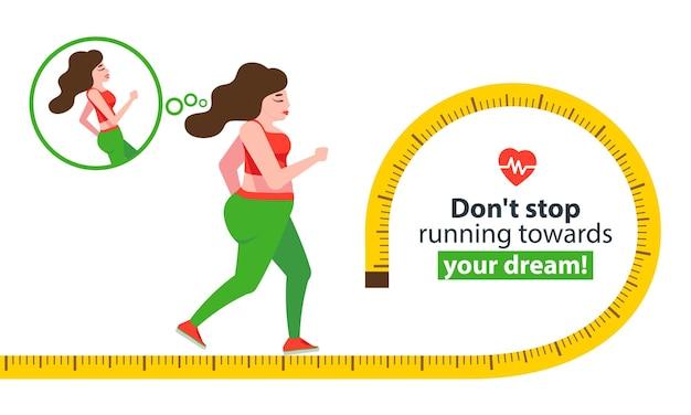 Koncepcja transformacji ciała kobiety biegnąca dziewczyna chudnie świetne wyniki w sporcie