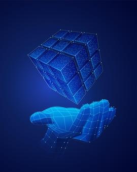Koncepcja transformacji cyfrowej, grafika low poly ręka trzymająca futurystyczny sześcian