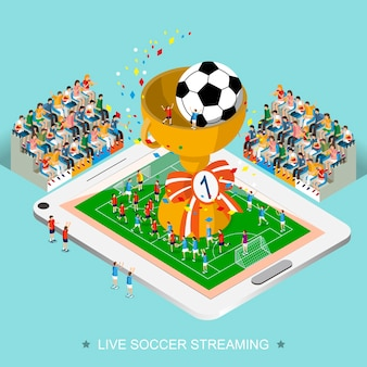 Koncepcja transmisji na żywo piłki nożnej w 3d izometrycznej płaskiej konstrukcji