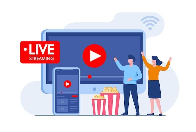 Koncepcja transmisji na żywo w mediach społecznościowych. płaski baner ilustracji wektorowych i strona docelowa