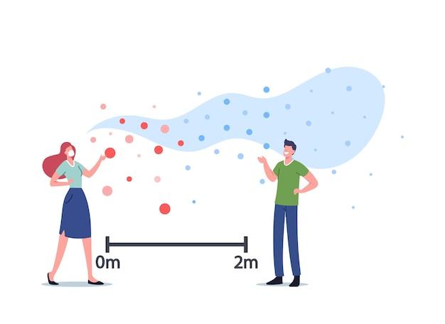 Koncepcja transmisji wirusa w powietrzu. postacie komunikują się z latającymi komórkami zakaźnymi. ludzie stoją w pewnej odległości od siebie, aby uniknąć grypy lub zarażenia chrząstką. ilustracja kreskówka wektor