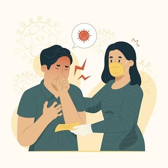 Koncepcja transmisji wirusa zapobiega rozprzestrzenianiu się ilustracji wirusa