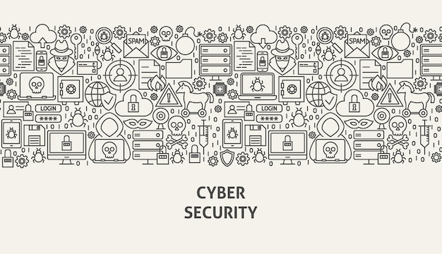 Koncepcja transparent bezpieczeństwa cybernetycznego. ilustracja wektorowa linii web design.